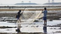 Catching fish on Sanur Beach