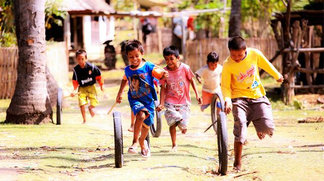 Children at village street