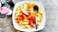 Fruit salad with fish stock.